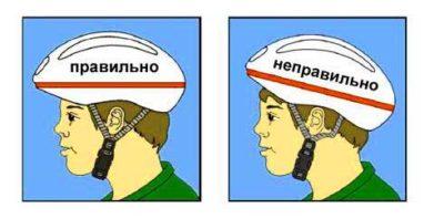 Правильная позиция велошлема
